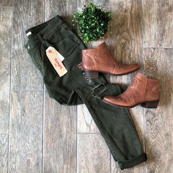 Levi's Denim - Levi's 535 Green Super Skinny Distressed Jeans